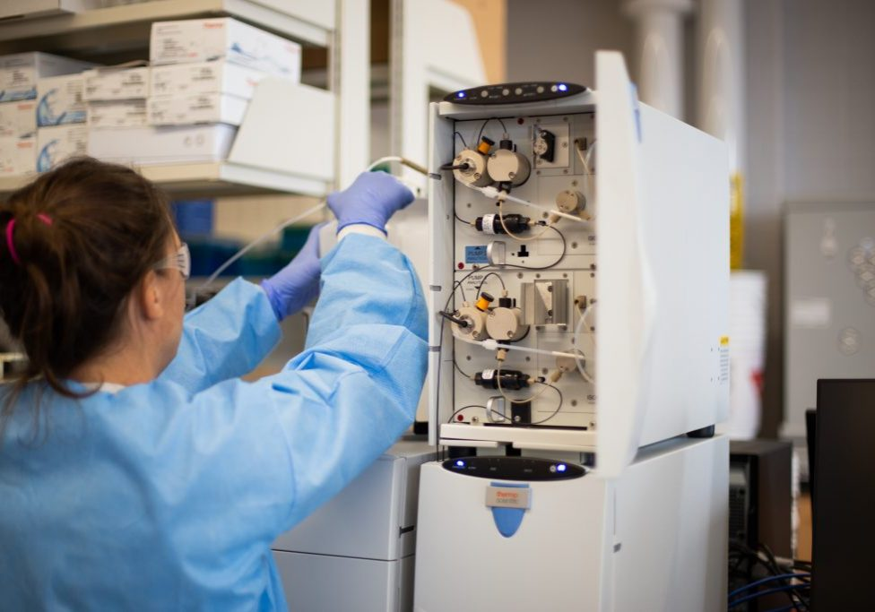 In U of T's Mining, Water and Environment Facility, Tara Colenbrander Nelson, field researcher, analyzes samples collected from four Canadian mine sites. This unique industry partnership is developing new tools that will enable the mining industry to better monitor, manage and reduce environmental impacts associated with sulphur compounds in their wastewaters.